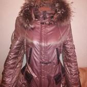 Куртка с капюшоном и натуральным мехом. Размер 46