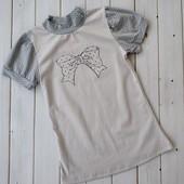 Красивая трикотажная блузка,футболка девочке в школу