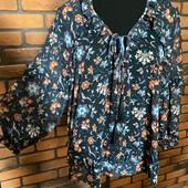 Блуза Манго, от С до Л, туника, цветы