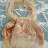Неимоверно красивый большой воздушный шарф новый натуральный шелк