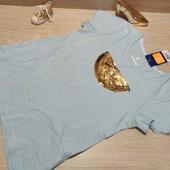 Германия!!! Очень красивая коттоновая футболка с пайетками-перевертышами! 110/116!