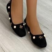 Замшевые туфли/балетки с декором.36-23 и 37-23.5 см.