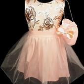 Новое шикарное платье с сумочкой на рост 116