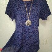 Красивая нарядная тёмно-синяя футболочка блуза р.14 Акция читайте