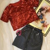 Надзвичайно цікаві комплекти для ваших дівчаток) Кофта в паєтках та спідниця-стьогана плащевка.