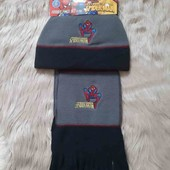 Детский флисовый комплект: шапка и шарф для мальчиков 54 Spider-man Disney США
