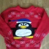 Шикарный свитерок с пингвином на 7-8 лет
