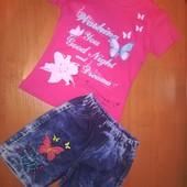 Костюм для девочки, на 6 лет, на рост 122 джинсовые шорты и футболка