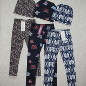 Модные комплекты для девочек. Лосины и шапочка. Размеры 92-122.