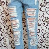 Женские рваные джинсы бойфренды с жемчугом. Размер s,m,l,xl