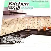 Самоклеющаяся фольгированная наклейка на кухню, в ванную. Термо, антижир, антнтивлага. Большая 90*60