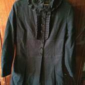 Фирменное пальто чёрное шерстяное