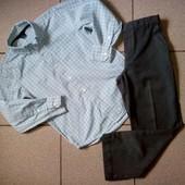 Фирменнык √√ классические серые школьные брюки √√ без нюансов + рубашечка в подарок. 128/134 см.