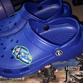Сабо кроксы шлепки синие с машинкой р 32/33 стелька 20.5см