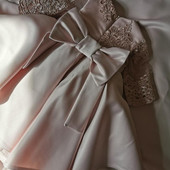 Шикарное платье на годик! (Есть и для мамы такое же размер М/Л) Цвет пудра. Размер 80 (на рост 74-80