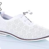 Мягусенькие туфли перфорация Кожа, в коробке! 37.40см!!УП-10%