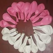 Воздушные шарики розовые и белые 20шт