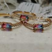 не пропустите! шикарное кольцо с фианитами и кристаллами Swarovski, р. 20.5, 21, позолота 585 пробы