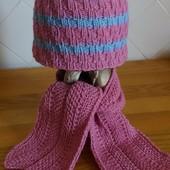 Утепляемся! Вязанный яркий комплект для девочки ! (на 3-5 лет)