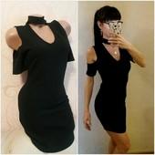 Качество! Очень красивое черное платье с чокером