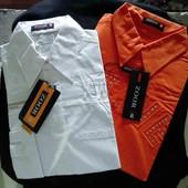Шикарная классическая стильная мужская рубашка(1 ед. в лоте, на выбор бел или оранж)