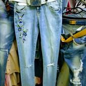 Новые турецкие зауженные стейчевые фабричные джинсы р. 27, поб 47 см, пот 33 см