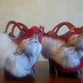 Модная сумочка туфля. Женская меховая сумка из меха лисы