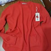 Ніжна кофтинка-пуловер бомбезно ягідно-коралового кольору