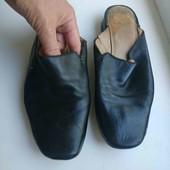чёрные кожаные шлепки ессо рр 6. 5, стелька 25.5см
