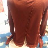 Блуза из тонкого трикотажа терракотовогоцвета (с шифоновой вставкой) на XS