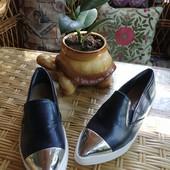 Стильные туфли, слиперы, кожа, как новые, доставка моя