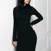 Миди длинное черное трикотажное платье гольф водолазка на осень р xs s m l