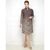 Платье-рубашка с леопардовым принтом, цвет темно-бежевый 54р