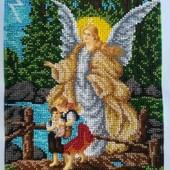 Картина Ангел Хранитель! Вышита бисером.