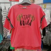 Суперовая фирменная футболка Stay wild на 9-10 лет рост 134-140! Рерсо! хлопок! замеры!