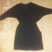 Трикотажное платье туника/на зАпах и карманами.