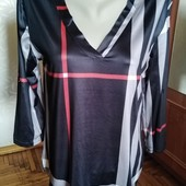 Шелковистая трикотажная блуза, рукав трансформер, Польша, размер-L