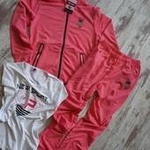 Фирменный спорт костюм 3ка мелланж, роз неон р14