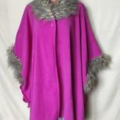 Мягенькое флисовое пальто/пончо с мехом, универсальный размер