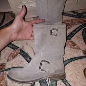 ботинки натуральний замш,прошита підошва 36 рр