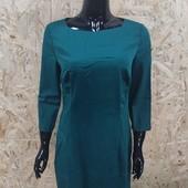 Офисное зеленое платье M и L (замеры в описании)