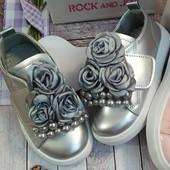 Ну очень няшные слипончики! Красивые и удобные модельки для принцесс! серебро по стельке 17,5 см