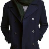 Бомба! Полупальто H&M на пуговицах тёмно-синее теплое 48р евро Оригинал, бирка