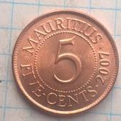 Монета Маврикия 5 центов 2007