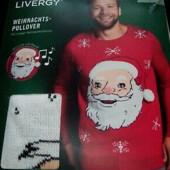 Новогодний брендовый свитер livergy очень высокое качество!с светом и музыкой