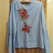 Шикарная хлопковая блузка с вышивкой