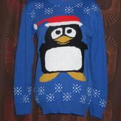 Новогодний свитер с пингвином состояние нового