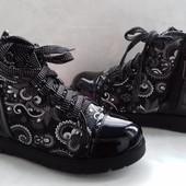Утепленные подростковые ботиночки на флисе 34-37р