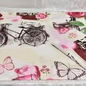 Велосипеды и розы!!! Наволочка 40х60 из бязи gold!!! Быстрая отправка.