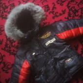 Курточка зима с натуральной опушкой на 3-4 года смотрите замеры